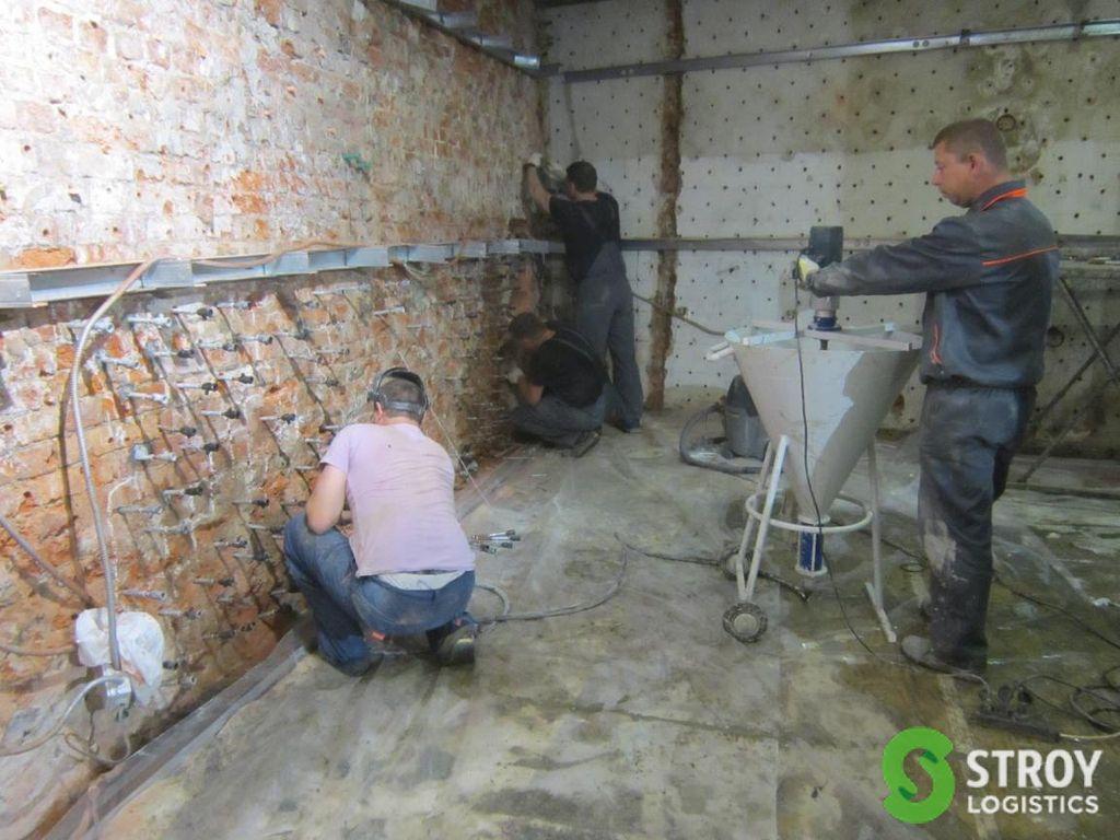 Инъектирование кирпичной кладки цементным раствором экспресс бетона
